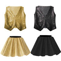 GIRLS Black and Gold Dance Costume SEQUIN Sparkle JAZZ TAP SEQUIN Festival SHOW