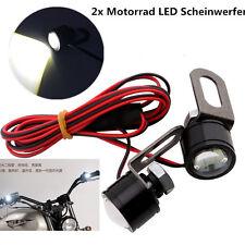 2x Universal Motorrad Licht LED Scheinwerfer Frontlicht Lenkerlicht Weiß 12V