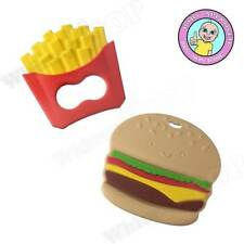Hamburger Teethers French Fries Food Grade Silicone Baby Safe Pendant Teethers