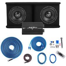 "SKAR AUDIO DUAL 8"" 1400W SDR SERIES BASS PKG W/ LOADED SUB BOX - AMP - WIRE KIT"