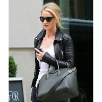 Rosie Huntington Whiteley Black Leather Quilted Jacket For Women Discounted Sale