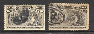 2xUS 1893, 10C Brown, SG 242, Columbian Exposition, Color Variety, U