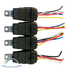 4 pack 12V 40 amp Car Auto Relay 5 pin & wire Heavy Duty Waterproof Plug Socket