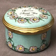 Halcyon Days Enamel Trinket Pill Ring Mini Box Thank You Gift Blue pink daisies