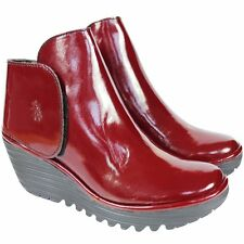 FLY LONDON 'YOGI' DESIGNER RED PATENT LEATHER WEDGE ANKLE BOOTS UK 4 /37 RRP £95