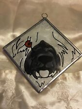 "Old English Sheepdog Stained Glass Suncatcher 4""x 4"" original kiln fired"