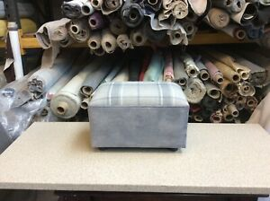 footstool / pouffe upholstered in Laura Ashley Highland check steel