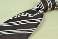 Canali Gingerbread & Pearl Slanted Stripe Silk Made in Italy Tie