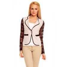 Veste blazer femme beige dentelle noir manches sexy fashion taille S 36