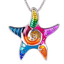 Large Colorful Starfish Necklace ~ Sea Star Enamel Animal Pendant Mermaid Groovy