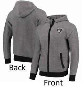 Men's Oakland Raiders Gray Poly-Knit Full-Zip Hoodie Jacket 121
