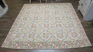 "Vintage Patchwork Quilt Tan Green Floral Cotton Queen 84"" x 81"""