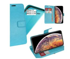 Aqua Blue Wallet Cover Magnetic Clip Stand For iPhone 11 / 11 Pro / 11 Pro Max