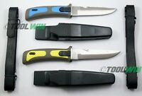 2 Scuba Diving Knives w/ Sheath Leg & Arm Straps Divers Knife Yellow Blue