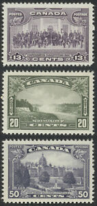 Canada #224-226 13c-50c 1935 Pictorials, Mint OG VF NH