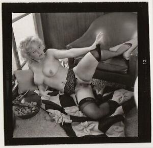 Original vintage 1960s blonde nude, contact print