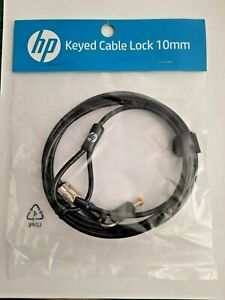 New HP Keyed Laptop Cable Lock 10mm Inc Keys - 1.83 m Cable - T1A62AA