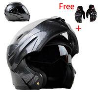 Motorcycle Bluetooth Helmet Modular Flip Up Dual Visor Carbon Fiber Full Face