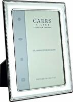 """CARRS - Sterling Silver Photo Frame Bead Design Wood Back - 7"""" x 5"""""""