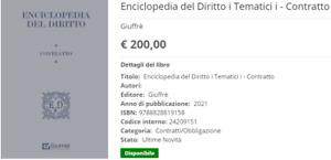 Enciclopedia Del Diritto-Contratto-Giuffrè 2021