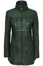 MISTRESS' Ladies Leather Jacket Green Napa Mid Length Coat Casual Fashion 1310