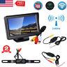"4.3""LCD Mirror Monitor Wireless Car Reverse Rear View Backup Camera Night Vision"