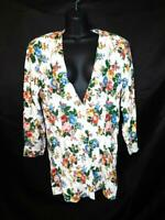 Vintage 80s Rampage 9 S M White Pink Blue Floral Blazer Dress Jacket Tunic