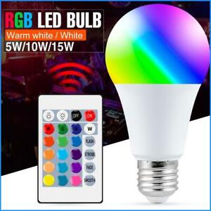 E27 Smart Control Lamp Led RGB Light Dimmable 5W 10W 15W RGBW Led Lamp Colorful