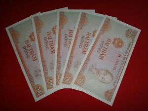 5 Socialist Republic Of Vietnam 200 PIASTERS Year 1987 Banknotes Uncirculated