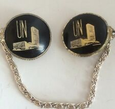 Vintage UN United Nations Sweater Clips Black Gold