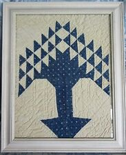 Antique Tree of Life Quilt Piece Framed Wall Hanging Blue Indigo Fabric Handmade