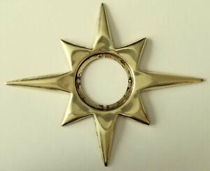 Vintage Mid-Century Starburst Brass Escutcheon door knob Plate