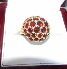 Dome Hallmarked Yellow Gold Ring British Victorian Red Garnet Studded Cluster