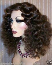 Drag Queen Wig Frizzy Shoulder Length Brown