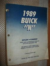 1989 Buick Skylark Somerset Parts Catalog Original Numbers Book Manual Oem