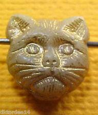 VTG 25 GOLD TOUGH STRAY KITTY CAT HEAD SPACER BEADS GEM HORIZONTAL HOLE #051711r