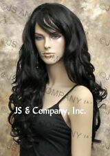 STRIKING! Long Full Wavy Curly layered Black Luscious Wig with bangs win