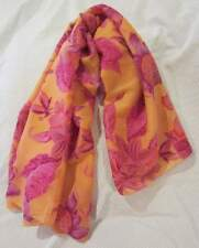 42 X 42 Floral SCARF Butterflies & Flowers NEW Peach, Rose, Fucshia, Lilac RAYON