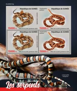 Guinea Reptiles Stamps 2020 MNH Snakes Copperhead Corn Snake 4v M/S + IMPF