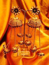Bollywood Gimmiki Indian Designer Earrings Golden Metal Long Jhumka Black F8