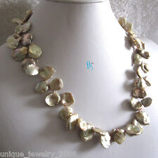"20"" 12-18mm Dark Champagne Keshi Single Row Freshwater Pearl Necklace"