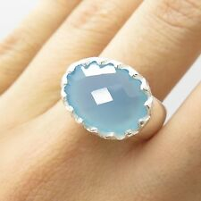 925 Sterling Silver Natural Blue Chalcedony Gemstone Ring Size 8