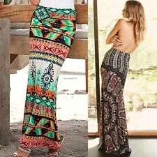 Boho Hippy Gypsy Women Summer Floral Long Maxi Skirt Beach Dress Sundress Casual