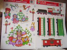 CHRISTMAS Window Static Connect Clings Train Stickers Carolers Mouse BEAR Angel
