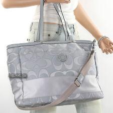 NWT Coach Signature Stripe Baby Bag Diaper Bag Multifunction Tote F19422 Grey