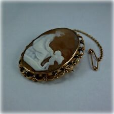 Vintage 9ct Gold Cameo Brooch & Safety Chain, circa 1950