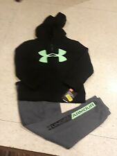 NWT UNDER ARMOUR COTTON BOYS ZIP UP 2 PIECE SET HOODIE HOODY SWEATPANTS GREEN
