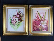 """Vintage Charming Floral acrylic paintings framed, 9"""" x 12"""""""