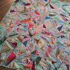 Vintage 70 X 80 Multicolor Feedsack Patchwork Crazy Quilt