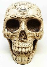 BONE AZTEC TATTOO TRIBAL SKULL STATUE RESIN FIGURINE AWESOME DETAILS
